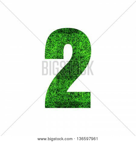 Number 2 (two) with green grass texture background.