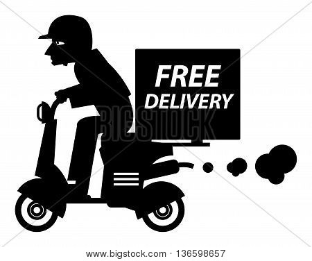 Delivery boy riding motor bike, vector illustration