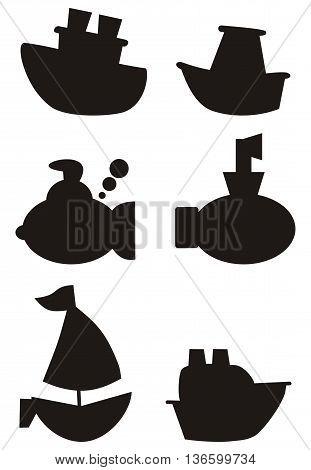 Marine ships, boats, submarines black-and-white icons. Children cartoon style.
