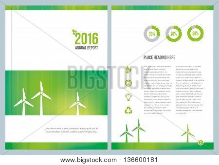 A environmental annual report design for cover and an inside page