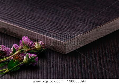 Dark Laminated Particleboards With Clover Flowers