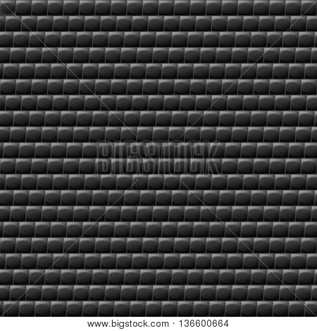 Heterogeneous corrugated surface. Seamless pattern black background