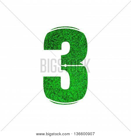 Number 3 (three) with green grass texture background.