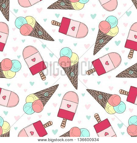 Seamless pattern with hand drawn ice creams. Doodle vector icecream with cute hearts.