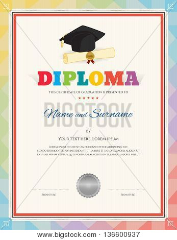 Colorful school kid diploma certificate template in modern style with graduation cap certificate document and seal