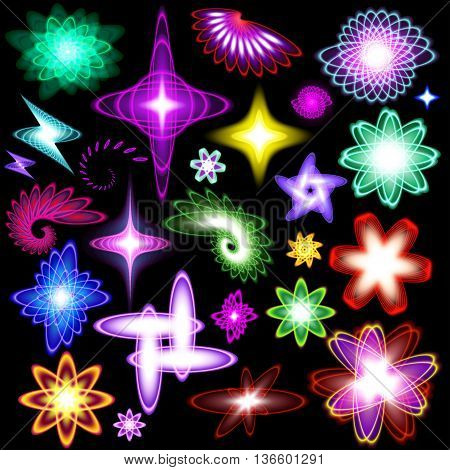 A set of neon shining brilliant design elements of different colors and stars and flare Lighting Effects Lens Flare and Sparkle Star set