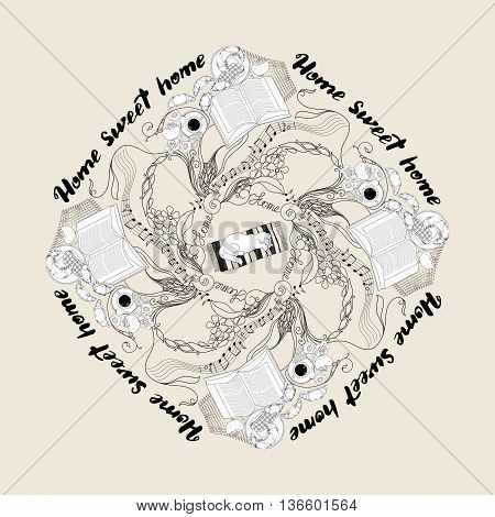 Hand drawn vector ornamental mandala with calligraphic quote printable phrase Home sweet home . For housewarming posters, greeting cards, home decorations, mood board. Circle vintage ornate pattern on light background.