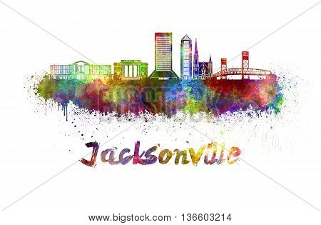 Jacksonville skyline in watercolor splatters with clipping path