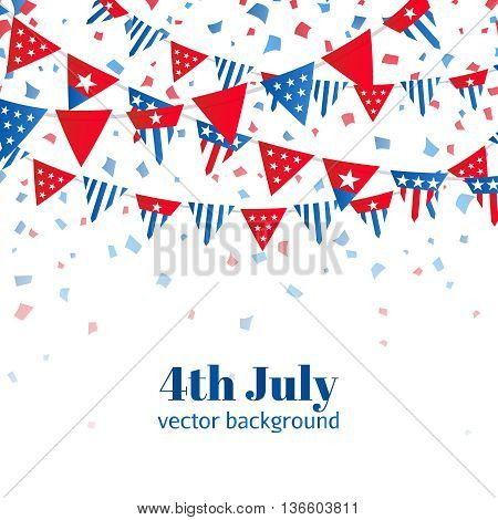4th of July, American Independence Day celebration greeting card with bunting in national flag color. Vector illustration
