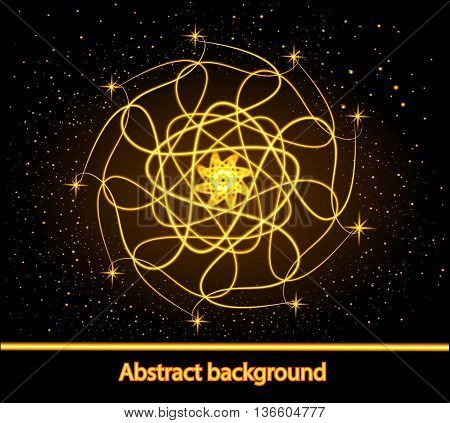 illustration abstract glowing background with stars and astrological form