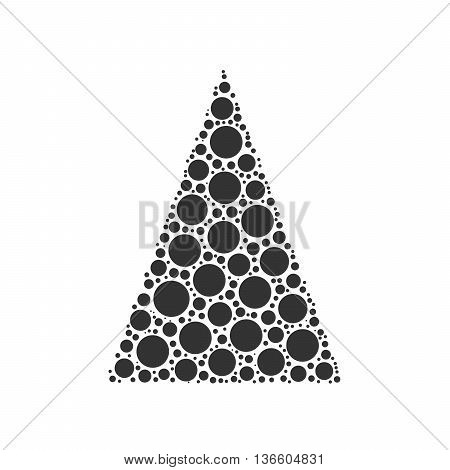 Simple abstract chrismas tree of dots, or circles, in a triangle shape. Black illustration on white background.