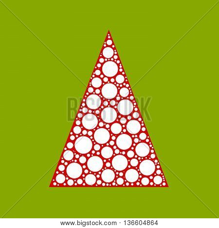 Simple abstract chrismas tree of white dots, or circles, in a red triangle shape on green background