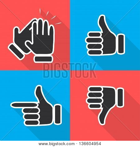 Icons In Flat Hand Gestures Vector Illustration