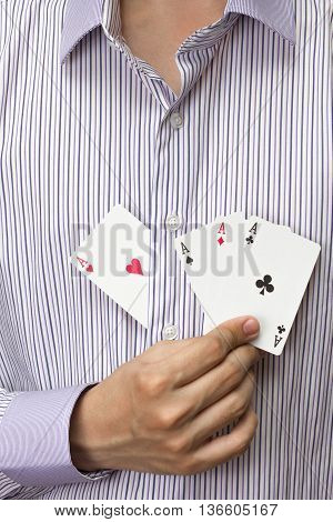 adult white man hold four ace card in hand