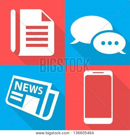Business Icons Vector Illustration Four Backgrounds