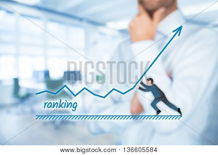 Businessman plan to increase ranking of his company or website.