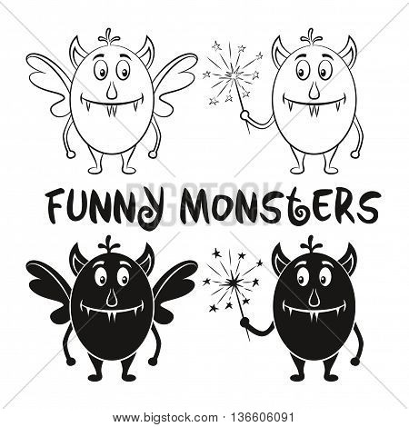 Set of Cute Different Cartoon Monsters, Black Contour and Silhouette Characters with Sparklers, Elements for your Design, Prints and Banners, Isolated on White Background. Vector
