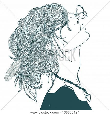 profile of beautiful young woman with butterfly
