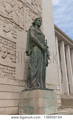 PORTO PORTUGAL - MAY 26 2016: Sculpture of Lady Justice (Justitia) near the Palace of Justice (Judiciary Museum) in the center of Porto (UNESCO site). Work of Leopoldo de Almeida 1961