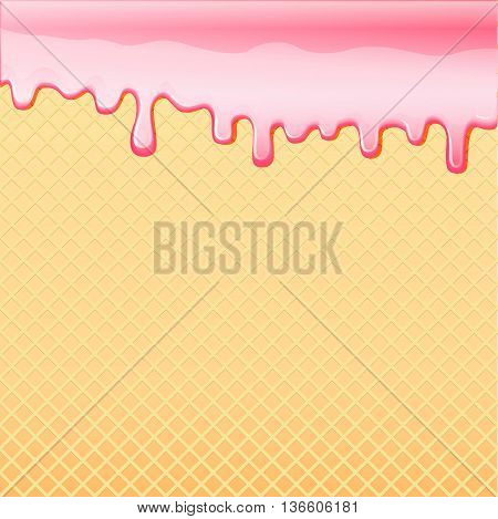 Sagging pink frosting on sweet food plate texture vector backgro