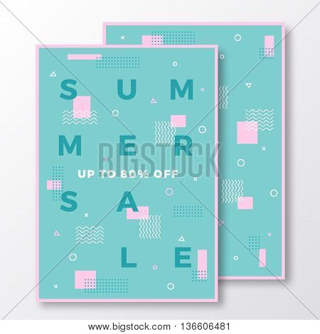 Summer Sale Poster, Card or Flyer Template. Modern Abstract Flat Swiss Style Background with Decorative Elements and Minimal Typography. Pink, Mint Colors. Soft Shadows. Isolated.