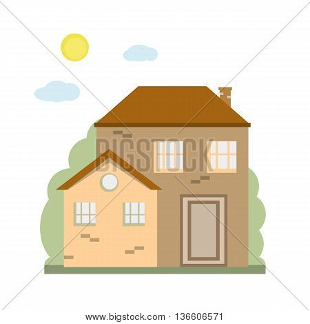 Colorful cottage house. Modern buildings. Vector illustration flat design. Family home.