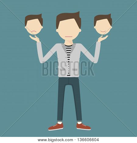 Happy and sad emotions concept. A young man hides his emotions. The mask on the face. Vector illustration flat style