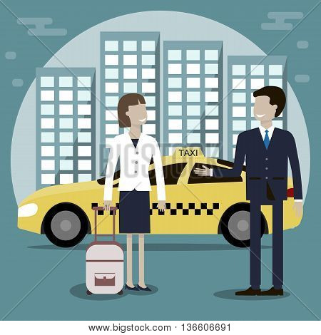 The taxi driver offers a woman passenger services. Yellow taxi cab in the background of the city. Vector illustration flat design