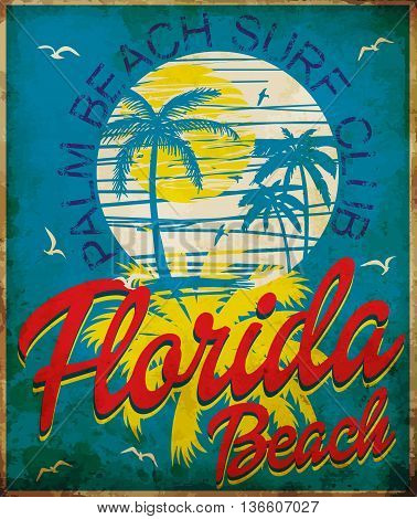 Tropical graphic with typography design florida beach surf club