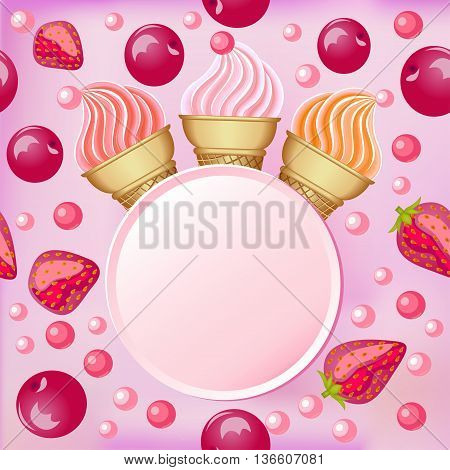 Sweet background with a set of popsicle strawberries and cherrie