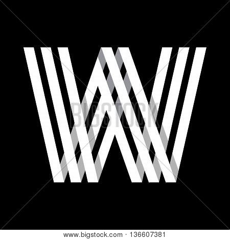 Capital letter W. Made of of three white stripes Overlapping with shadows. Logo, monogram, emblem trendy design.