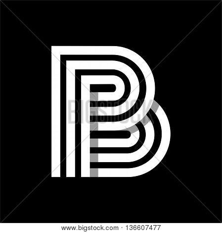 Capital letter B. Made of of three white stripes Overlapping with shadows. Logo, monogram, emblem trendy design.