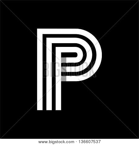 Capital letter P. Made of of three white stripes Overlapping with shadows. Logo, monogram, emblem trendy design.