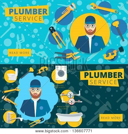 Set of vector plumber service concept web banner design. Plumbing repair tools background in flat style
