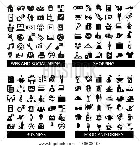 Big set of quality icons. Social Media icons Web icons Food Drinks icons Shopping Business Mobile Travel Camping. Vector illustration