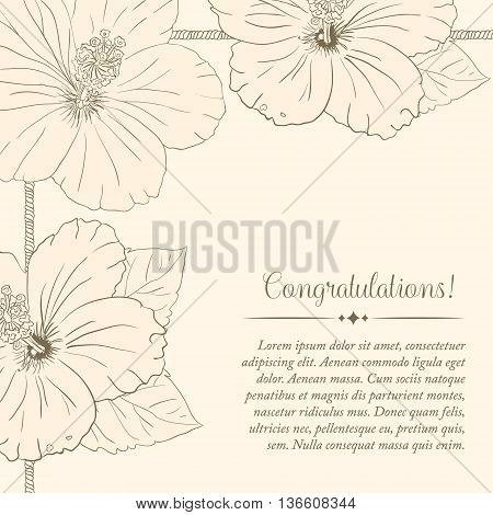 illustration with hibiscus flowers. Vector congratulation or invitation card. old sharpen beige background