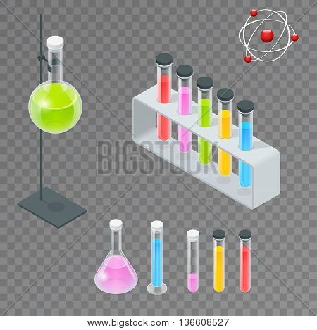 Chemical test tube pictogram icons set. Erlenmeyer flask, distilling flask, volumetric flask, test tube. Chemical lab equipment isolated. Experiment flasks for science experiment. Isometric 3d vector.