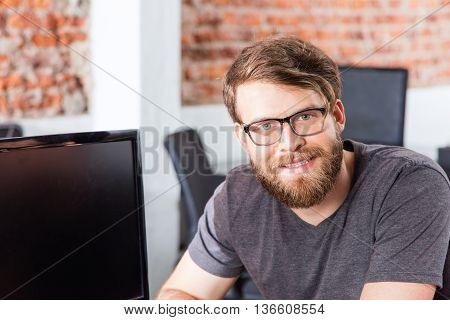Man face sitting office smile, Casual businessman beard glasses