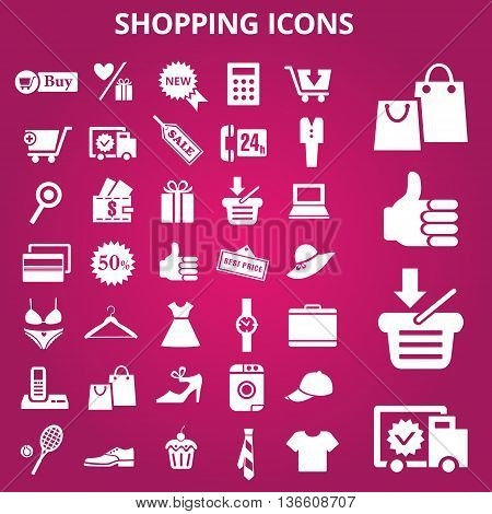 Set of shopping icons. Vector illustrations. Shopper's signs