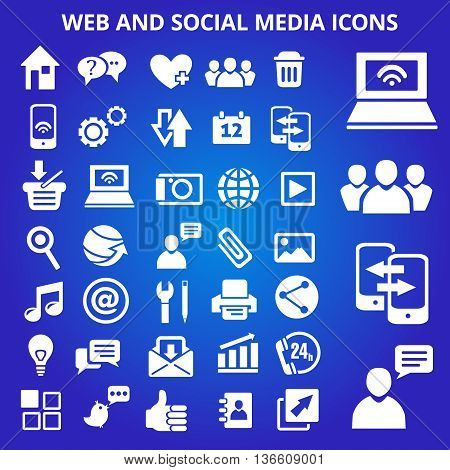 Set of web and social media icons. Vector illustration