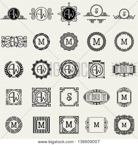 Vintage Monogram Logos Design Templates Big Set. Vector logotypes elements collection, Icons Symbols, Retro Labels, Badges, Silhouettes.