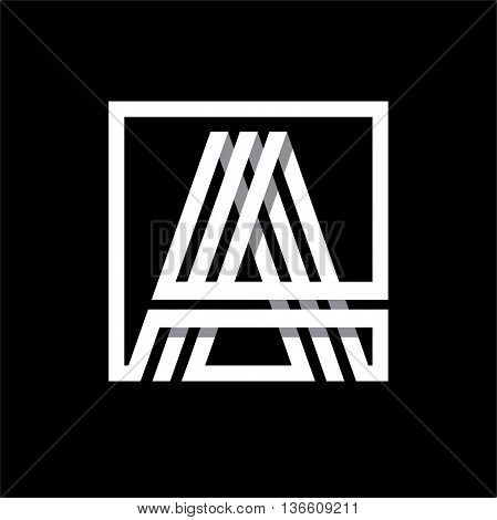 A capital letter made of of three white stripes enclosed in a square. . Overlapping with shadows monogram, logo, emblem. Trendy design.