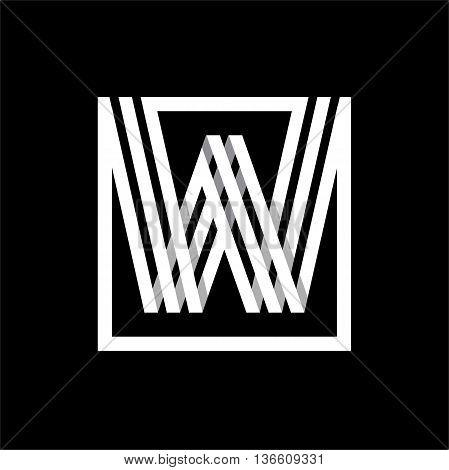 W capital letter made of of three white stripes enclosed in a square. . Overlapping with shadows monogram, logo, emblem. Trendy design.