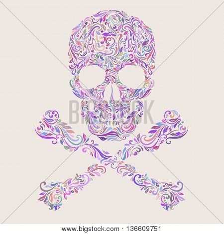 Floral colors pattern of form skull with crossbones on the beige