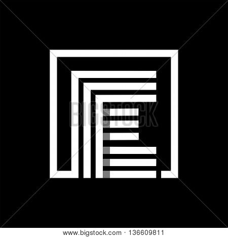 E capital letter made of of three white stripes enclosed in a square. . Overlapping with shadows monogram, logo, emblem. Trendy design.