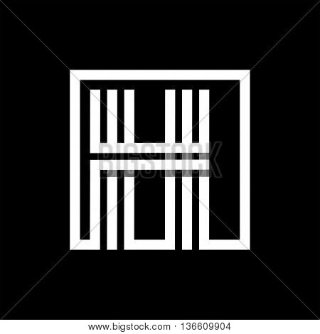 H capital letter made of of three white stripes enclosed in a square. . Overlapping with shadows monogram, logo, emblem. Trendy design.