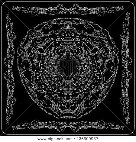 Black and white sea life bandana square pattern design for print on fabric. Kerchief or neck scarf style. Mandala vector illustration with fishes and waves.
