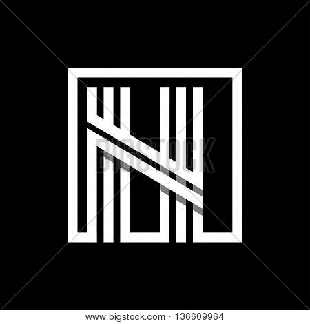 N capital letter made of of three white stripes enclosed in a square. . Overlapping with shadows monogram, logo, emblem. Trendy design.
