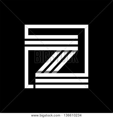 Z capital letter made of of three white stripes enclosed in a square. . Overlapping with shadows monogram, logo, emblem. Trendy design.