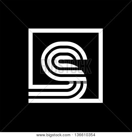 S capital letter made of of three white stripes enclosed in a square. . Overlapping with shadows monogram, logo, emblem. Trendy design.